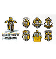 a colorful set of emblems badges logos of a vector image vector image