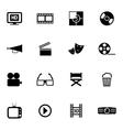 black cinema icon set