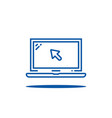 blue thin line laptop with cursor vector image vector image