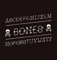 bones italic font alphabet vector image