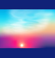 bright colors sunset background with sun vector image vector image