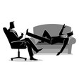 businessman having a therapy with psychologist vector image