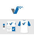 check logo design with business card and t shirt vector image