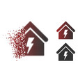 dissipated pixelated halftone building electricity vector image vector image