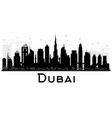 dubai uae city skyline black and white silhouette vector image vector image
