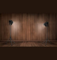 empty interior wooden studio with lamps vector image vector image