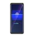 fingerprint scan on smartphone screen concept vector image