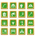 fireman tools icons set green vector image vector image