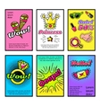 For Girls Comic Style Posters Set vector image vector image