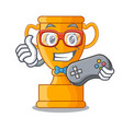 gamer champion golden trophy on cartoon table vector image