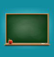 green chalkboard with chalk and red apple vector image vector image