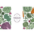 hand drawn vintage color vegetables design vector image vector image