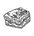 lasagna bolognese icon doodle hand drawn or vector image