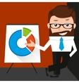 Lucky businessman is presenting a round diagram vector image vector image