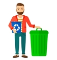 Man with recycle bins vector image vector image
