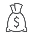 money bag line icon finance and banking vector image