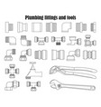 monochrome set of plumbing fittings and tools vector image