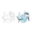 musical cartoon animal childish cat with vector image