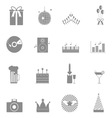 Party and celebration icons set on white vector image