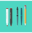 Pens pencil markers set isolated on green vector image