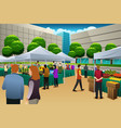 people shopping in farmers market vector image