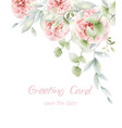pink roses floral card watercolor provence vector image