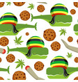 rasta whale and cookies seamless pattern large vector image vector image