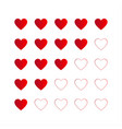 rating with red hearts icon for your infographic vector image vector image