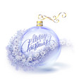 realistic transparent blue christmas ball vector image