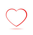 red heart isolated icon in line art style vector image vector image