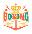 retro emblem with boxing ring vector image