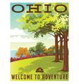 retro travel poster series ohio landscape vector image vector image