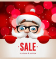 santa claus with big signboard christmas sale vector image vector image
