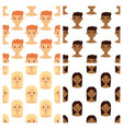 seamless pattern avatars background with facial vector image