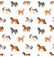 seamless pattern different cute little horses vector image vector image