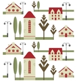 Seamless pattern element of houses with red roofs vector image vector image