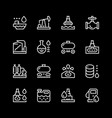 set line icons of oil industry vector image