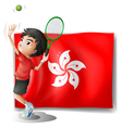 The flag of Hongkong with a tennis player vector image vector image