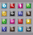 user interface glass icons set vector image