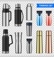 vacuum flask realistic set transparent vector image vector image