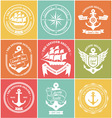 Vintage Retro Nautical Symbols and Icons vector image