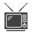 vintage tv solid icon household and appliance vector image vector image