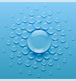 water droplets on blue background vector image vector image