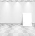 White room with advertising stand vector image vector image