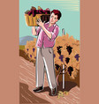 young man carrying a basket vector image vector image