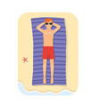 young man relaxing in the beach at summer vector image vector image
