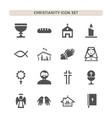 christianity icons set on white background vector image