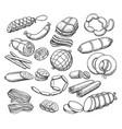 sausages sketch set vector image