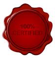 100 CERTIFIED wax seal vector image vector image