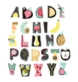 Abstract Alphabet fruit Creative Kids font Great vector image vector image